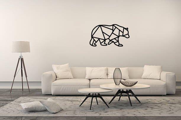 Metalowy Obraz Scienny Niedzwiedz Geometryczny Panel Dekoracyjny