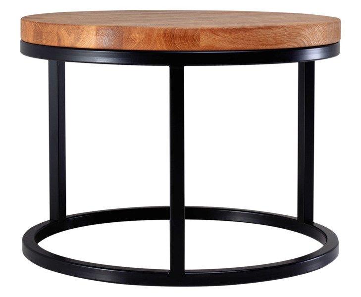 Wspaniały Stolik okrągły kawowy industrialny 503 / Ława Loft z drewnianym PN32